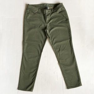 Olive green slim Capri pants